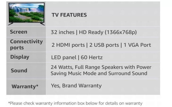 Micromax 32 Inches HD Ready LED TV 32P8361HD
