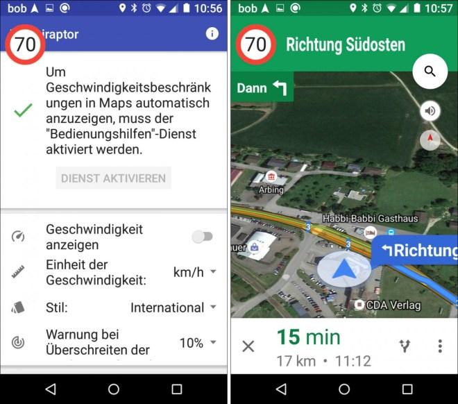Ein paar Einstellungen vorgenommen und schon zeigt dir die App die erlaubte Geschwindigkeit in Google Maps an