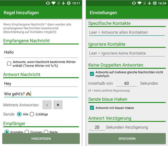 Praktisch: Der AutoResponder beantwortet selbstständig Ihre WhatsApp-Nachrichten.