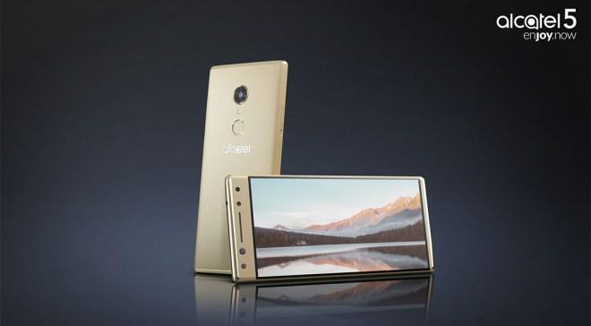 Alcatel präsentierte während preiswerte Smartphones mit 18:9-Bildschirmen. Im Bild: Das Alcatel 5 in Gold Quelle: Alcatel