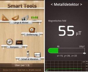 Jede Menge Werkzeuge sind in der App integriert, sogar einen Schallmesser findet man darunter.