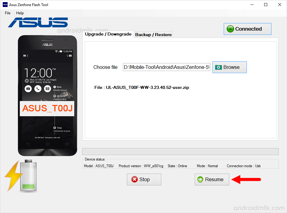 asus zenphone flash tool resume