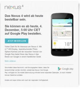 nexus 4 annuncio in germania