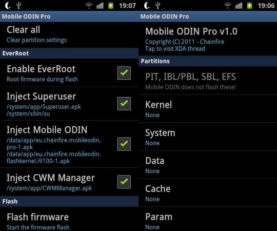 Mobile Odin screen