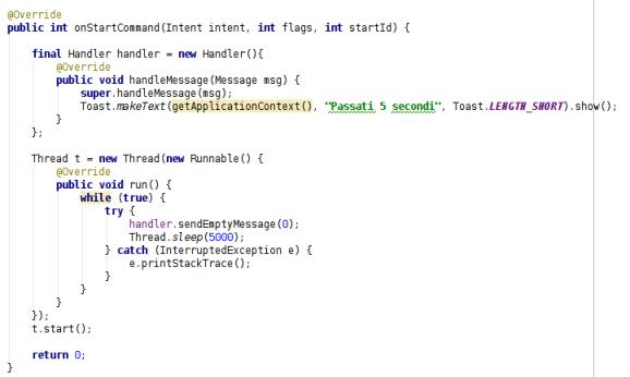 Codice MyService Thread Handler