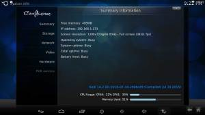 Zidoo X1 Kodi summary information