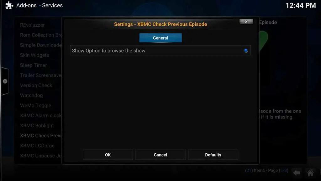 Addons Settings - XBMC Check Previous Episode