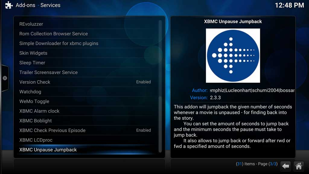 Addons Services - XBMC Unpause Jumpback