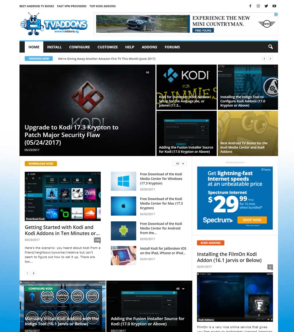 TVAddons website just before the end...