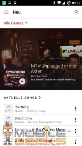 Die Wunderbarige Benutzeroberfläche von das Apple Music für Android Programm
