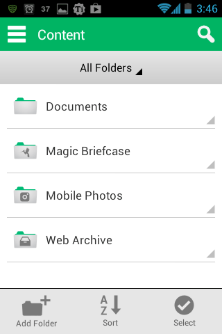 SugarSync folders