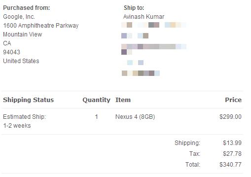 Nexus 4 8GB order