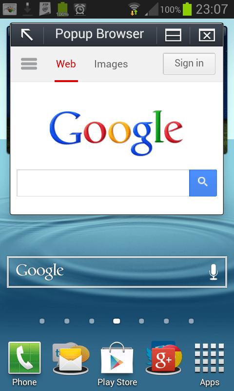 Samsung Pop up browser
