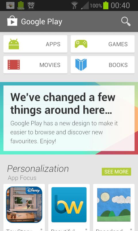 Google Play 4.0.27 UI
