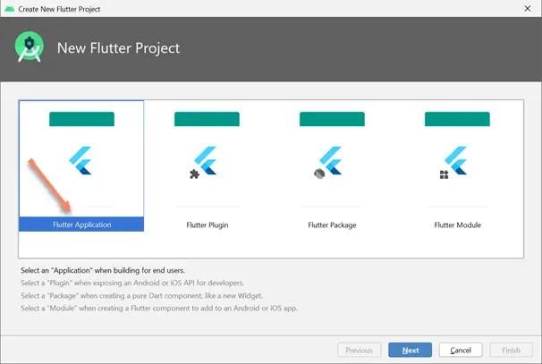 flutter project flutter application android studio
