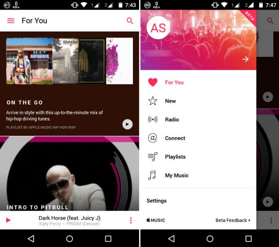 Apple Music for Android Interface