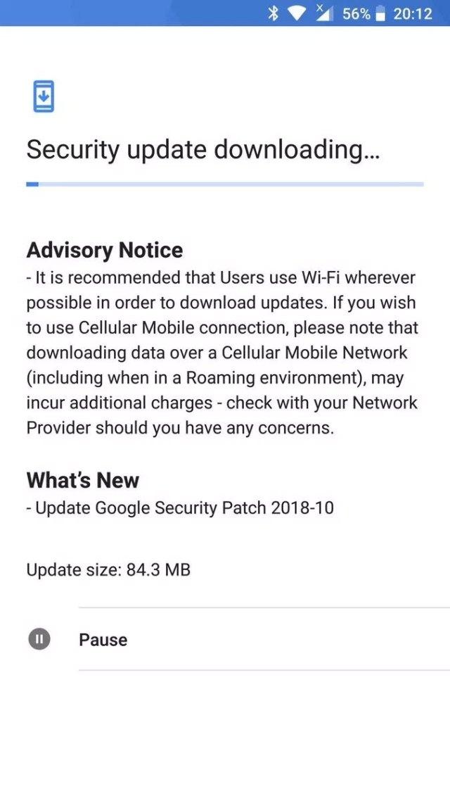 Nokia 8 october 2018 security update