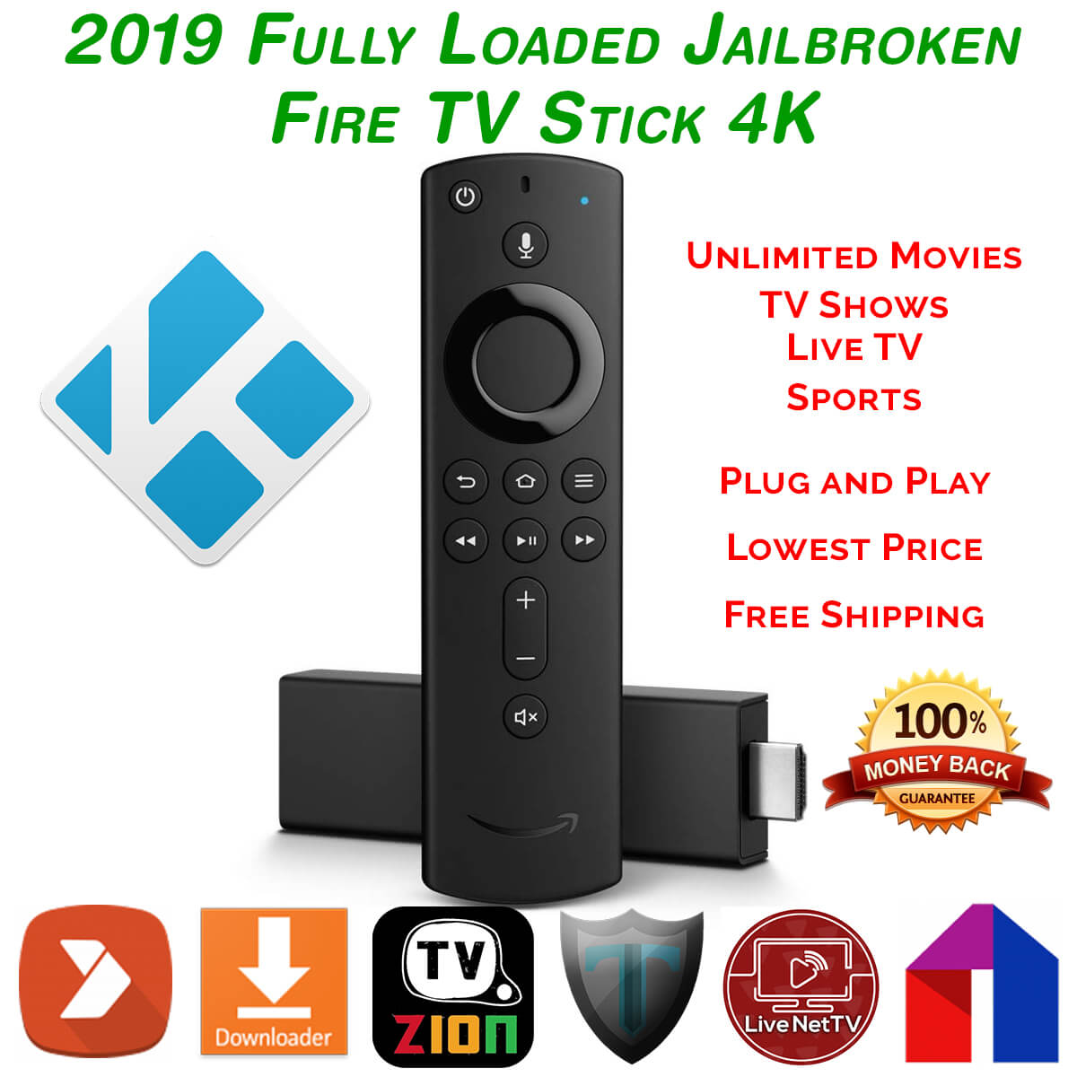 Jailbroken Amazon Fire TV Stick with Fully Loaded Kodi 18 - TVGeek Build