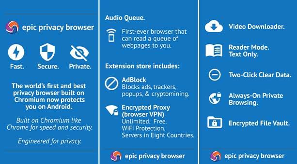 en güvenilir tarayıcı uygulamaları Epic Privacy Browser 2020