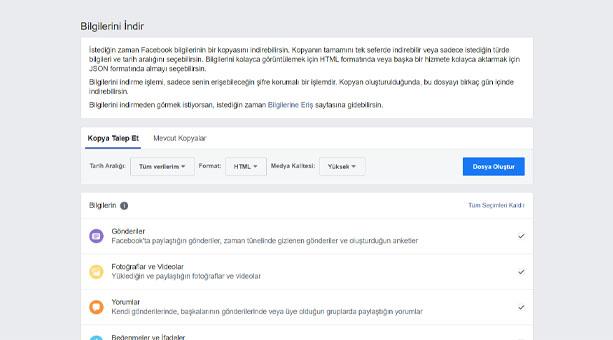 Facebook Verilerinin Yedeğini Alma 2020