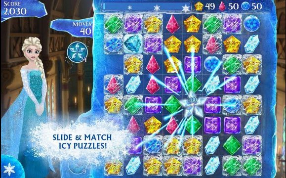 Frozen Free Fall Game Snowball Fight Gameplay Download Mod APK Android Disney unlimited lives and boosters happy 7