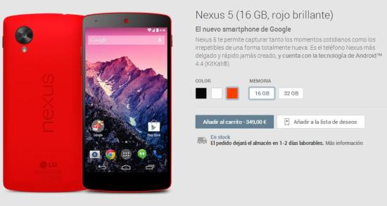 Nexus 5 Rojo en Google Play