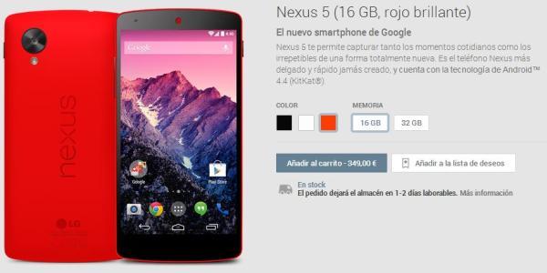 Nexus 5 Rojo en Google Play