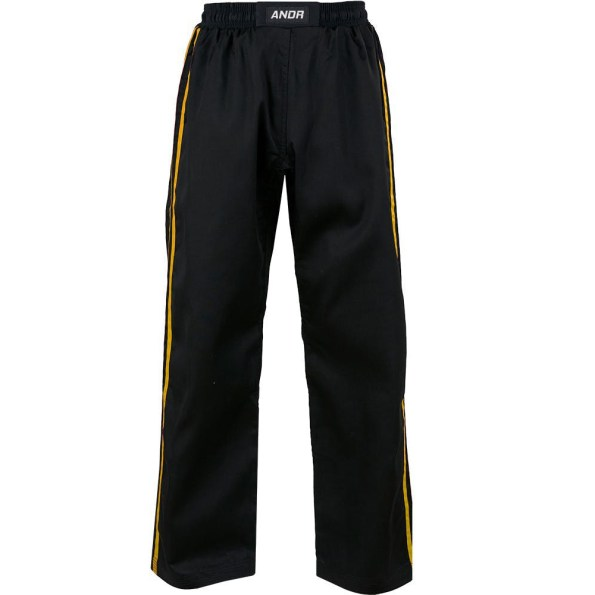 KM001-kids-classic-polycotton-full-contact-trousers-Black-Yellow.jpg