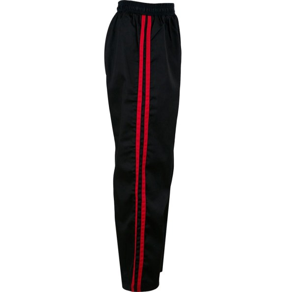 KM003-kids-classic-polycotton-full-contact-trousers-Black-Red-side.jpg