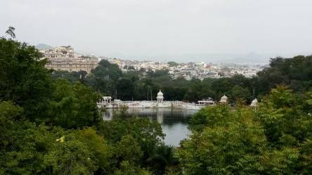 A view of the city of Udaipur from a vantage point near the Ropeway