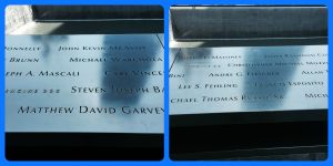 Some of the nearly 3000 names of the men, women, and children killed in the attacks of September 11, 2001 and February 26, 1993 are inscribed on bronze parapets surrounding the twin Memorial pools.