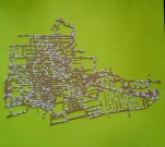 Vintage patterned London, Ontario map on green