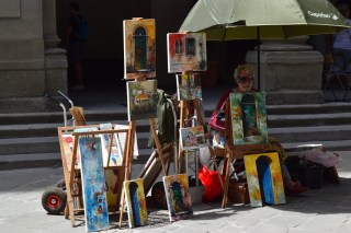 Selling some art in Florence, Italy