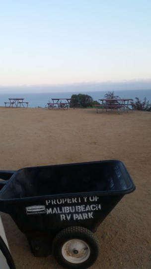 We couldn't drive to our campsite. Instead we had to use the wheelbarrow because we were camping on the sand.