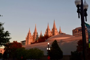 Mormon church at sunset