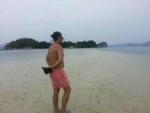 Standing on the sandbar leading to Snake Island