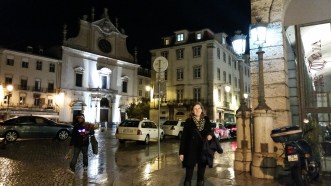 in the wet streets of Lisbon