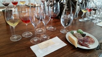 set up for a wine and cheese pairing at 13th Street Winery