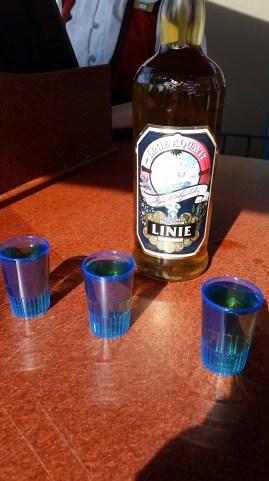 drinking a Norwegian liqueur