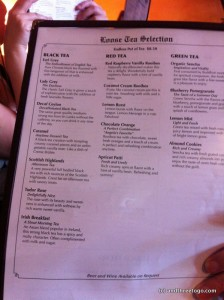 The tea menu