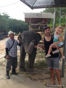 Chad, Z, and Charlie (not sure of his Mahouts name). He was a sweet 3 year old elephant that we fed many cucumbers to that day.