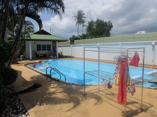 Now to the backyard... a beautiful pool with the GUEST HOUSE! We are ready for visitors!