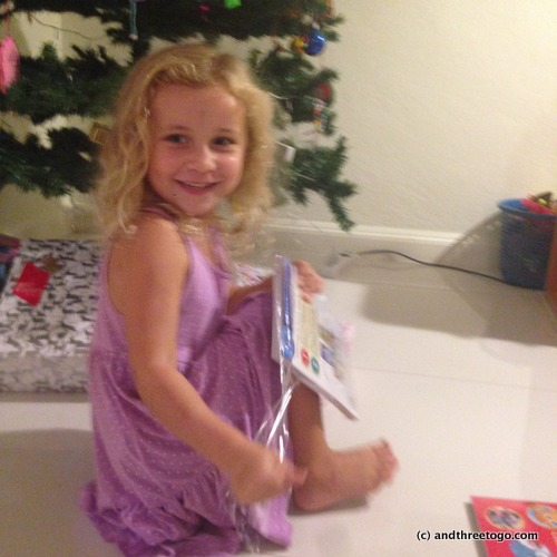Christmas Eve gift opening. We open pajamas and a new story book for Christmas eve every year.
