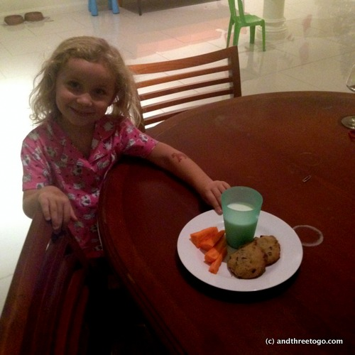 Cookies and milk for Santa Claus. And of course carrots for the reindeers.