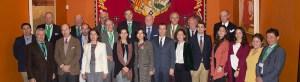 Foto de familia en el I Foro de Doma Vaquera celebrado en la Real Maestranza de Caballería de Sevilla