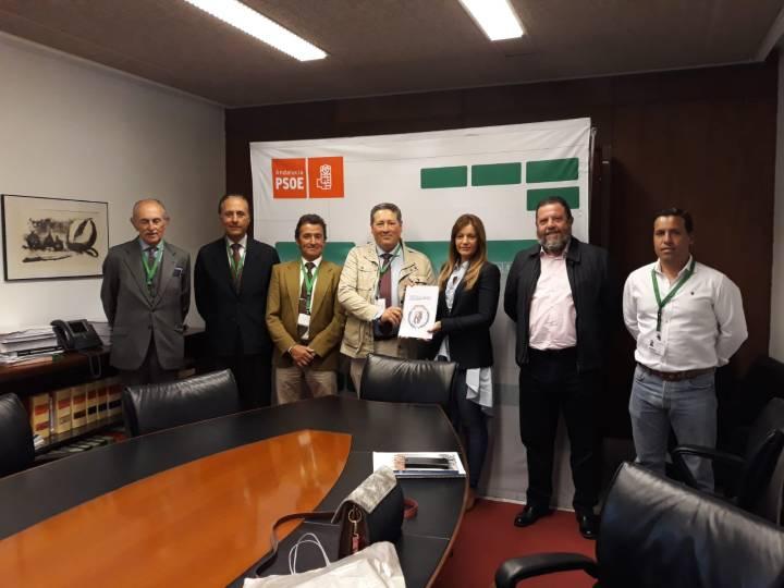 La representación de la Junta Directiva de la ANDV, junto a Modesta Romero y Antonio Sánchez Villaverde (PSOE)