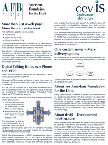 One page flier explaining our approach to DAISY over the telephone.