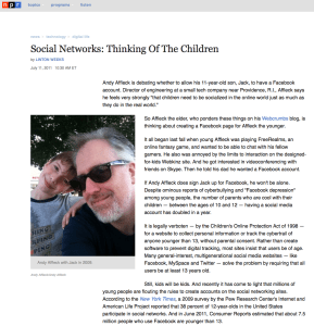Article on NPR.org, July 11, 2011.