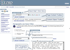 Screen showing a help page on the EZRO website