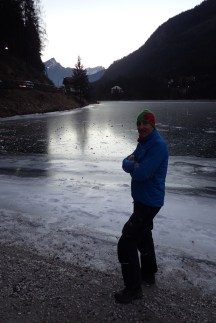 Beside the frozen lake at Alleghe